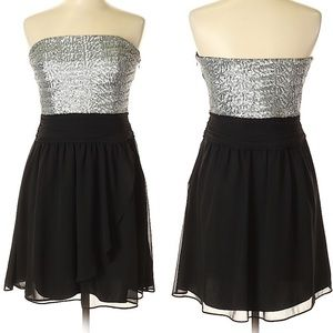 Express Black Strapless silver sequin cocktail